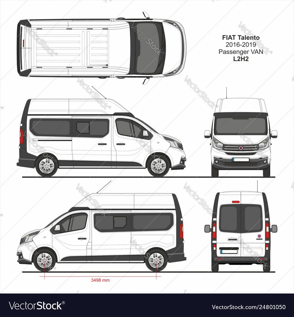 Fiat Talento Passenger Van L2h2 2016 2019 Detailed Template For Design And Production Of Vehicle Wraps Scale 1 To 10 Download A Fre Renault Van Renault Trafic