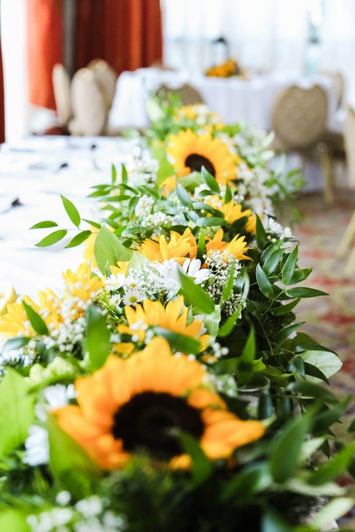Absolutely beautiful sunflower table swag rustic country
