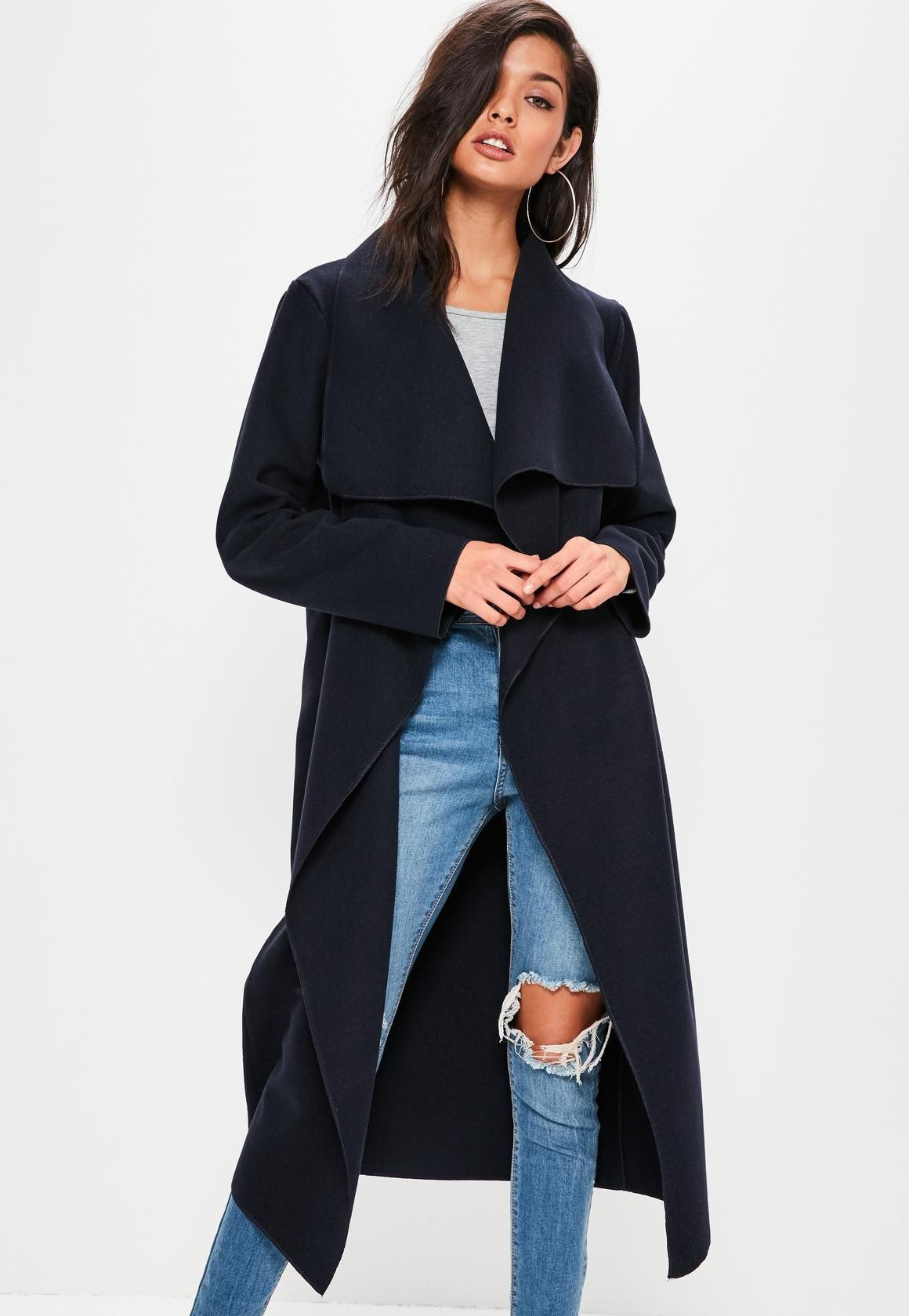 657cf62130f8 Missguided - Navy Oversized Long Sleeve Waterfall Duster Coat ...