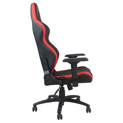 Ferrino Line Red on Black Diamond Patterned Gaming and Lifestyle Chair by RapidX, Red/Black