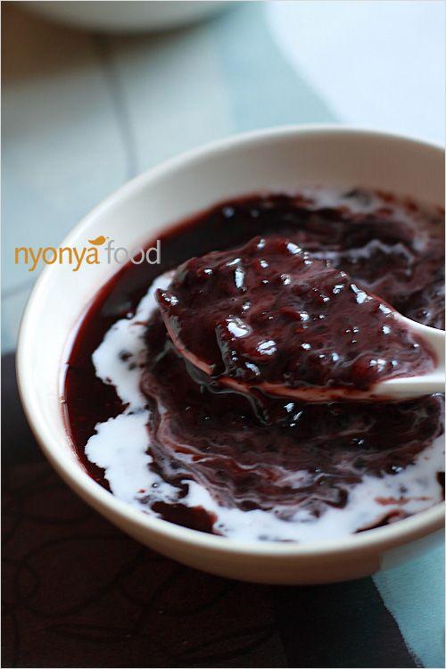 Bubur Pulut Hitam : bubur, pulut, hitam, Moy/Bubur, Pulut, Hitam, (Black, Sticky, Dessert), Recipes, RasaMalaysia.com, Rasamalaysia.com, Desserts,, Savory, Snacks,, Sweet