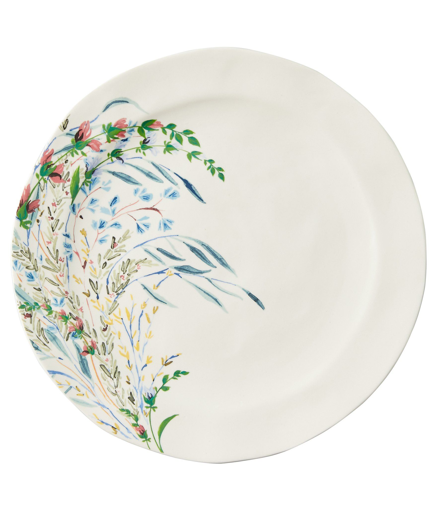 From Anthropologie Home, this set of 4 plates feature: Set of 4 dinner platesStonewareWindswept wildflower patternApprox. 10.75
