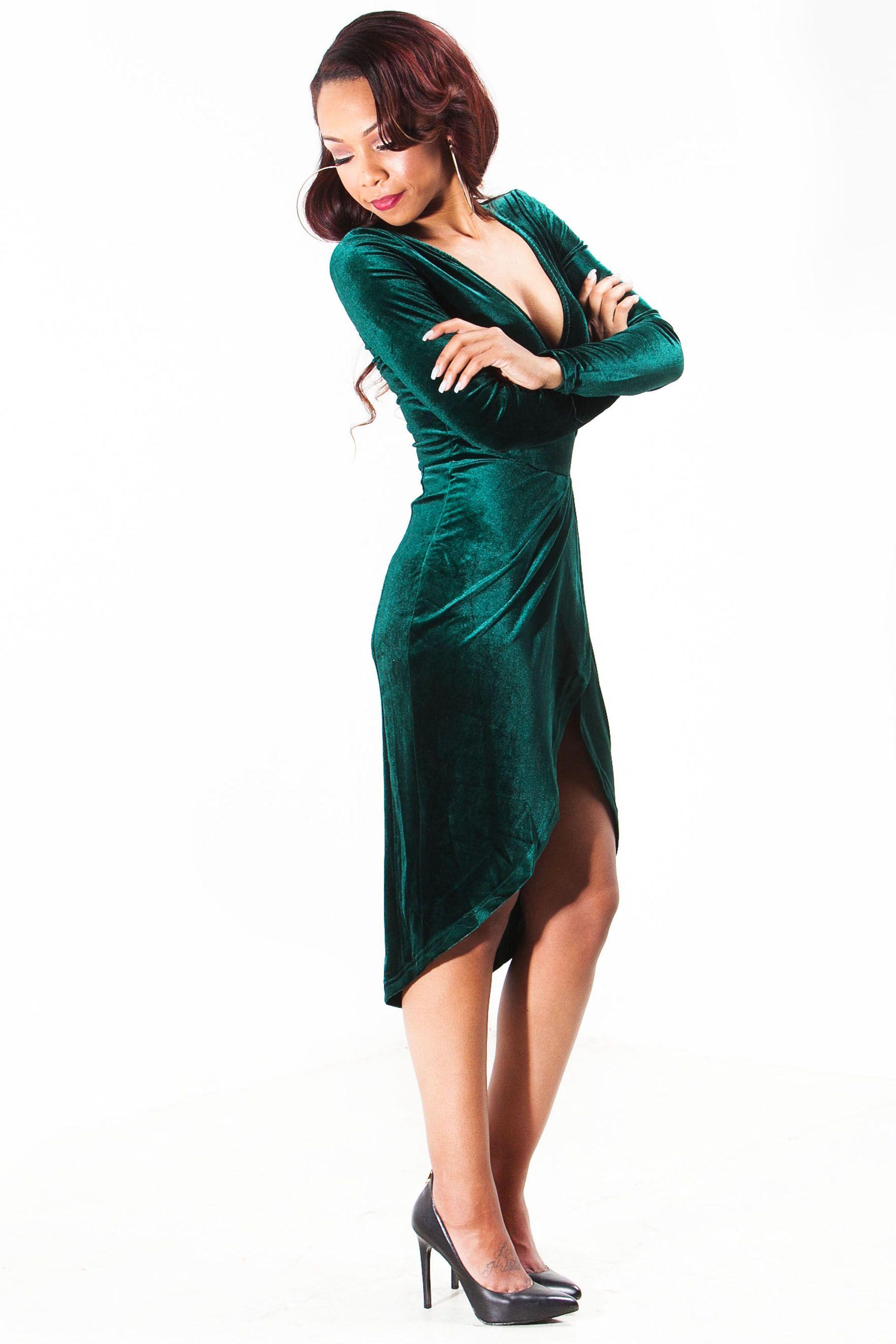 Emerald Green Velvet Wrap Dress 3 1856x