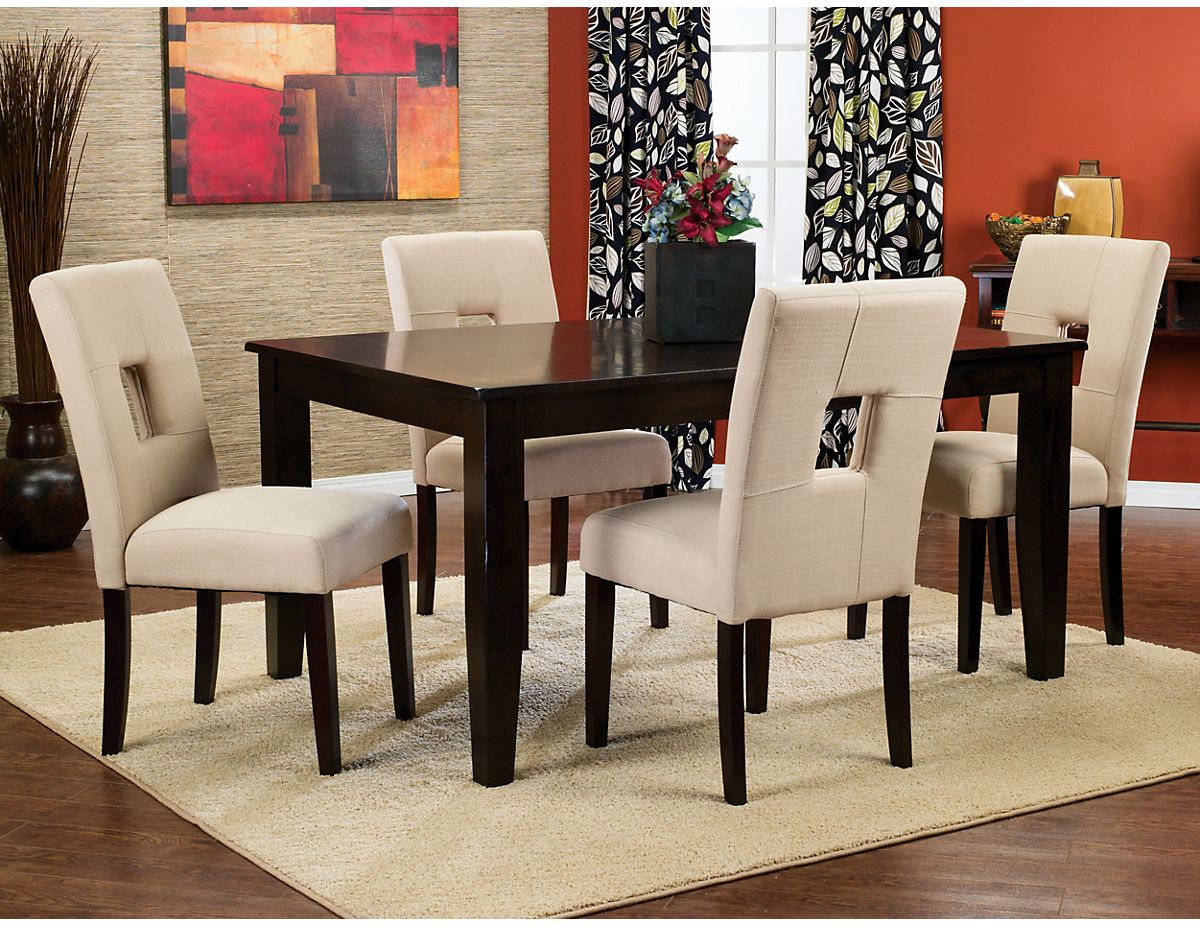 Dakota 5Piece Dining Package With Beige Chairs Dakbpk5  The Custom Dining Room Accent Pieces Review
