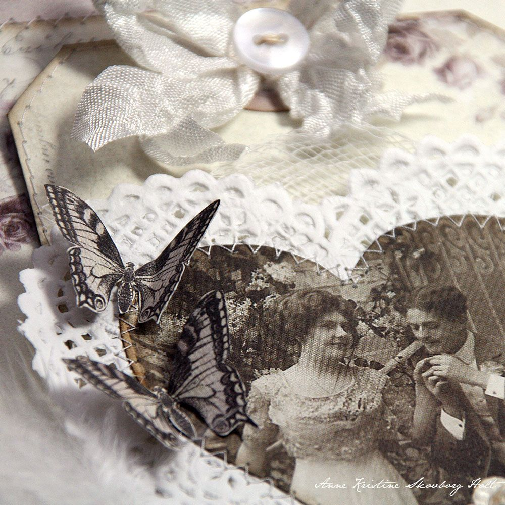 Black and White Valentine Tag with Vintage Collage Photo  Anne's paper fun: With Love