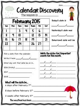 Calendar Worksheets Calendar Worksheets Calendar Math Assessment