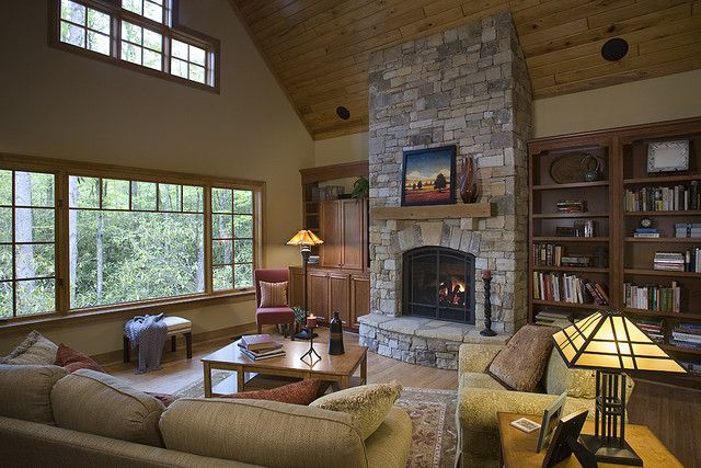 Stone fireplace vaulted ceiling stone fireplaces for Hollison custom homes