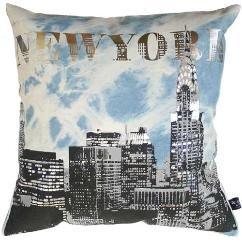 Pillow Cover Denim Jeans Hand Screen Printed #city Print
