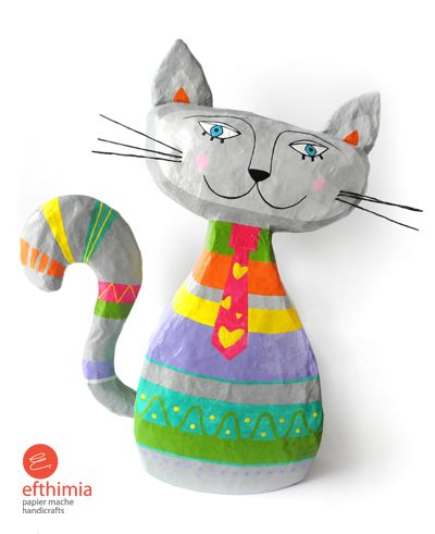 My sweet and adorable big gray cat. A big handmade papier mache cat with bright colors and colorful stripes.