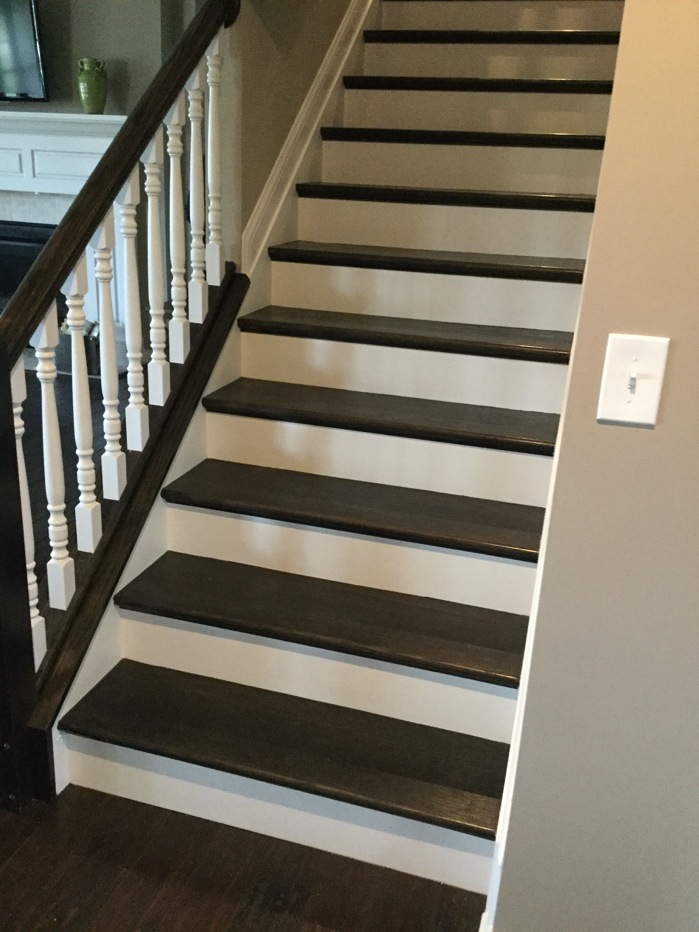 Best Espresso Stained Oak Treads With Images Stairs Exterior Brick Oak 400 x 300