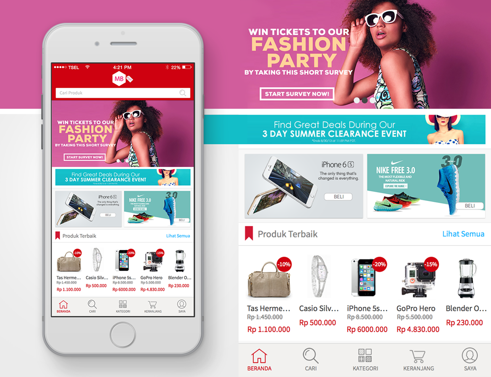 E-Commerce Home Screen for iOS app - UI/UX Concept | Graphics ...