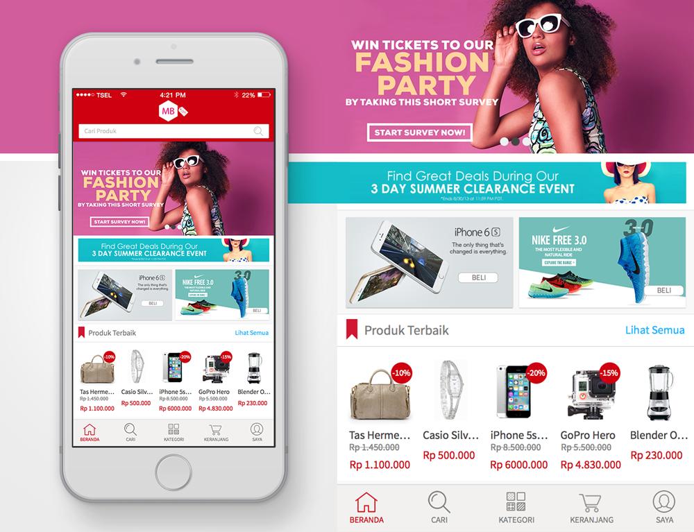 E-Commerce Home Screen for iOS app - UI/UX Concept | Graphics & Web ...
