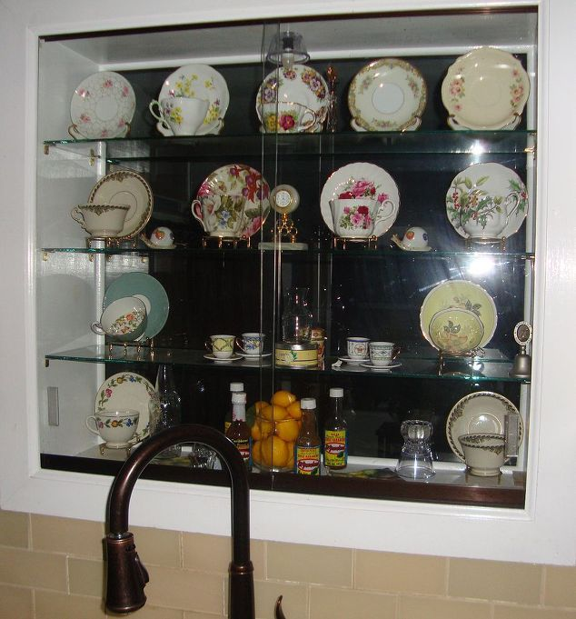 Lighted Kitchen Window Teacup and Saucers Curio Cabinet | Teacup ...
