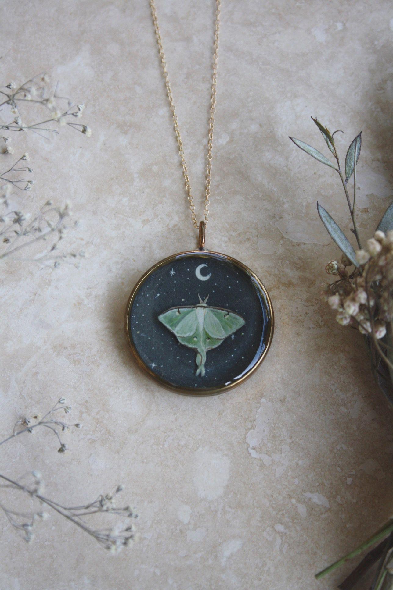 Photo of Starry Luna Moth Necklace