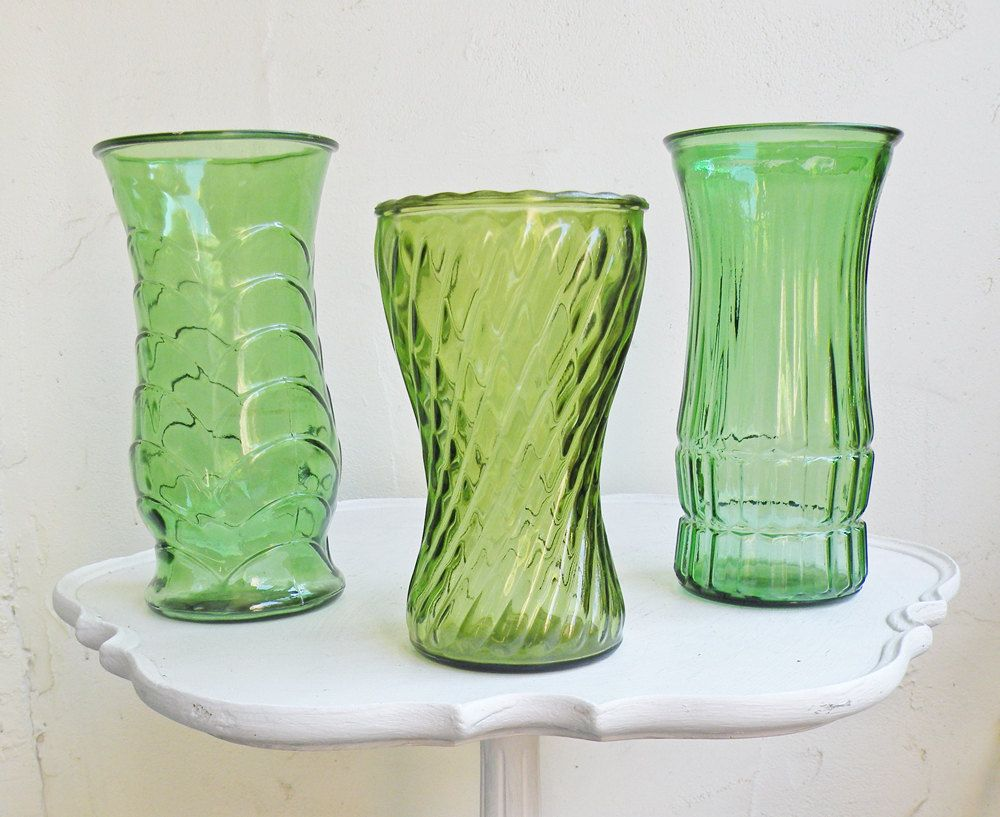 Three vintage green glass flower vases large faceted glass vases three vintage green glass flower vases large faceted glass vases diamond fish scale eo brody country cottage chic farm house wedding decor reviewsmspy