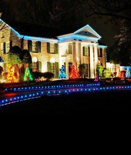 the buckingham palace of the south elvis presleys graceland with every hall decked in christmas lights