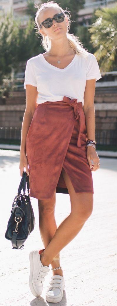 White Tee + Rust Wrap Skirt                                                                             Source