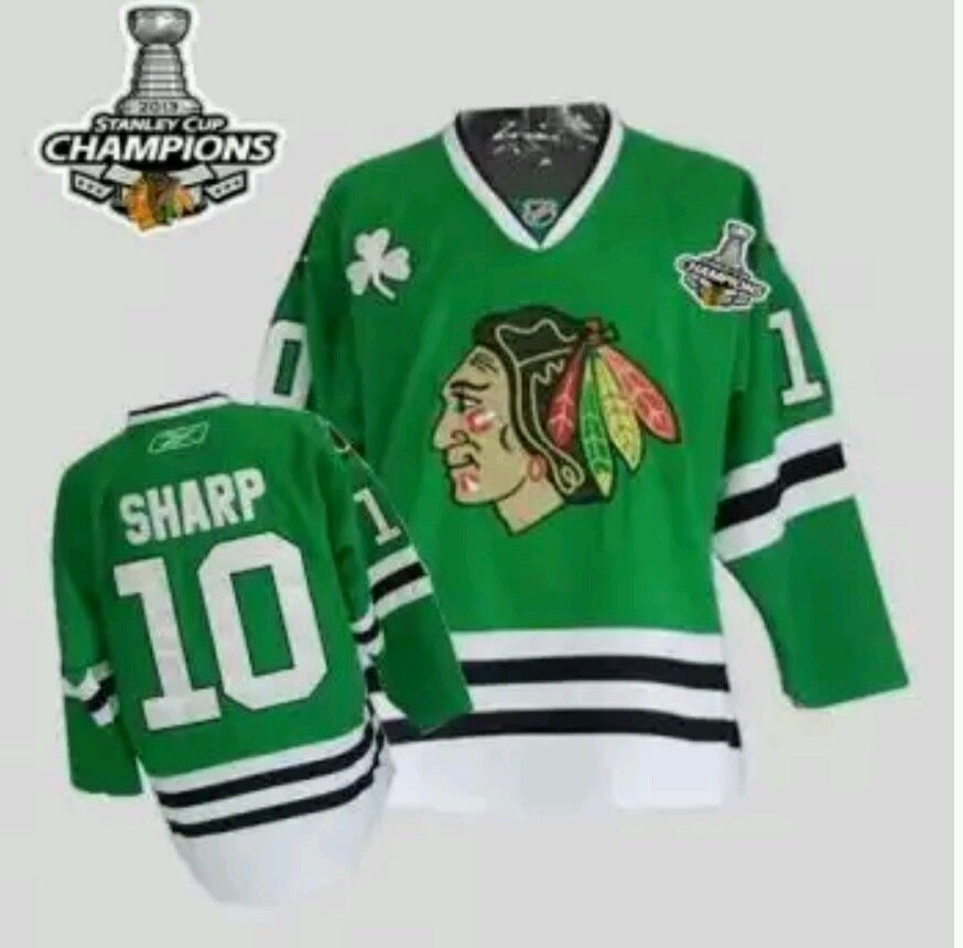 Patrick Sharp  Chicago Blackhawks Green St Patrick s Day Rbk Jersey from   50.0 f65d9b43a9e