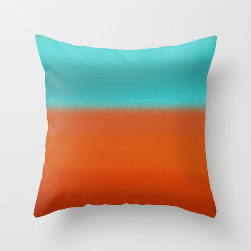 Abstract Throw Pillow Cover Teal Turquoise Rust Orange Ombre Modern Home  Decoru2026