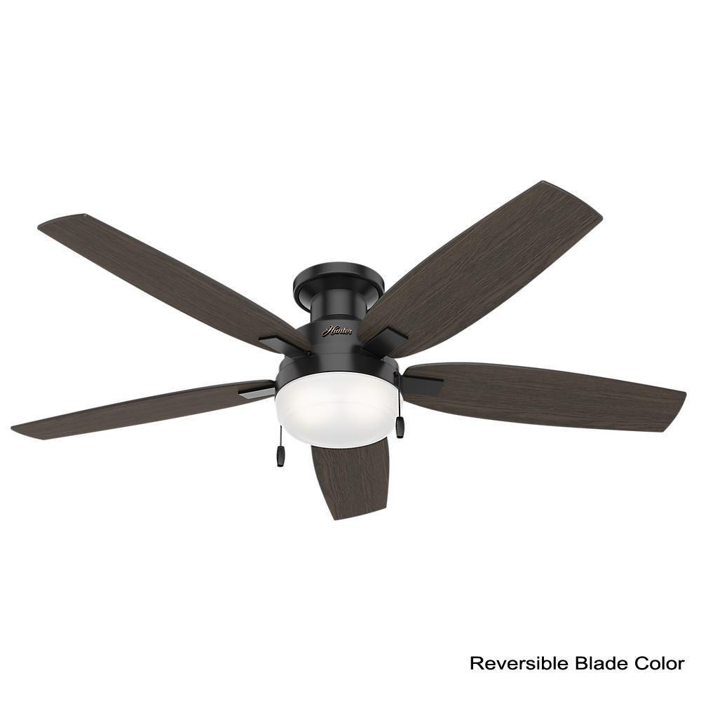 Hunter Duncan 52 In Led Indoor Matte Black Flush Mount Ceiling Fan With Light Kit 59586 The Home Depot Ceiling Fan With Light Ceiling Fan Fan Light