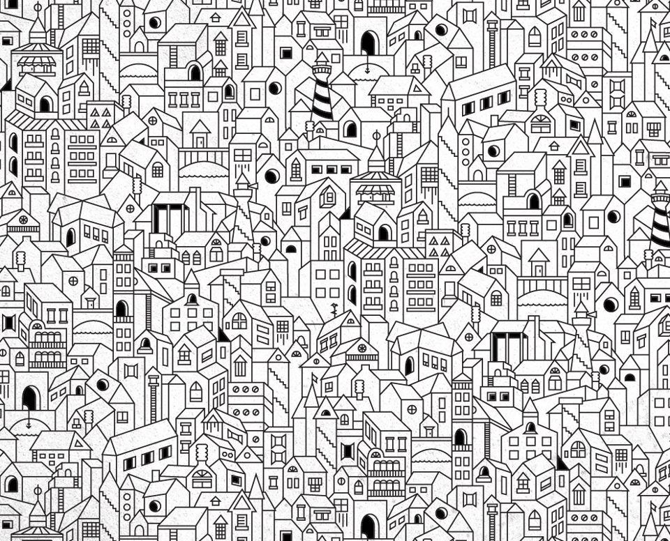 Coloriage - little houses coloring page | Kolor Like a Kid ...