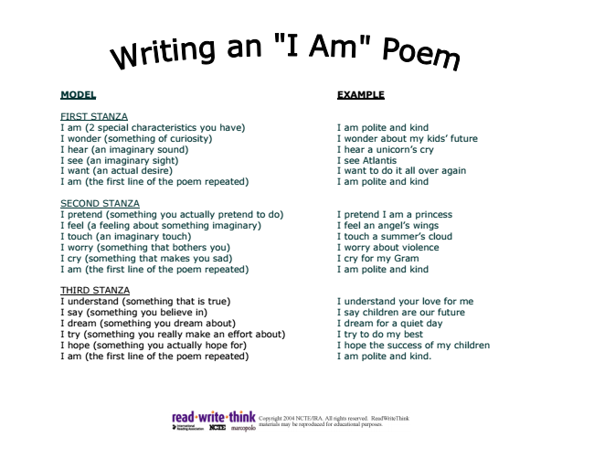 I Am Poem Template | Handout Of I Am Poem Template And Example Poetry In 2018