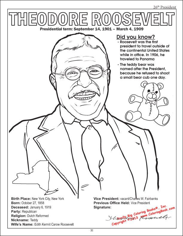teddy roosevelt coloring page from the american presidents coloring