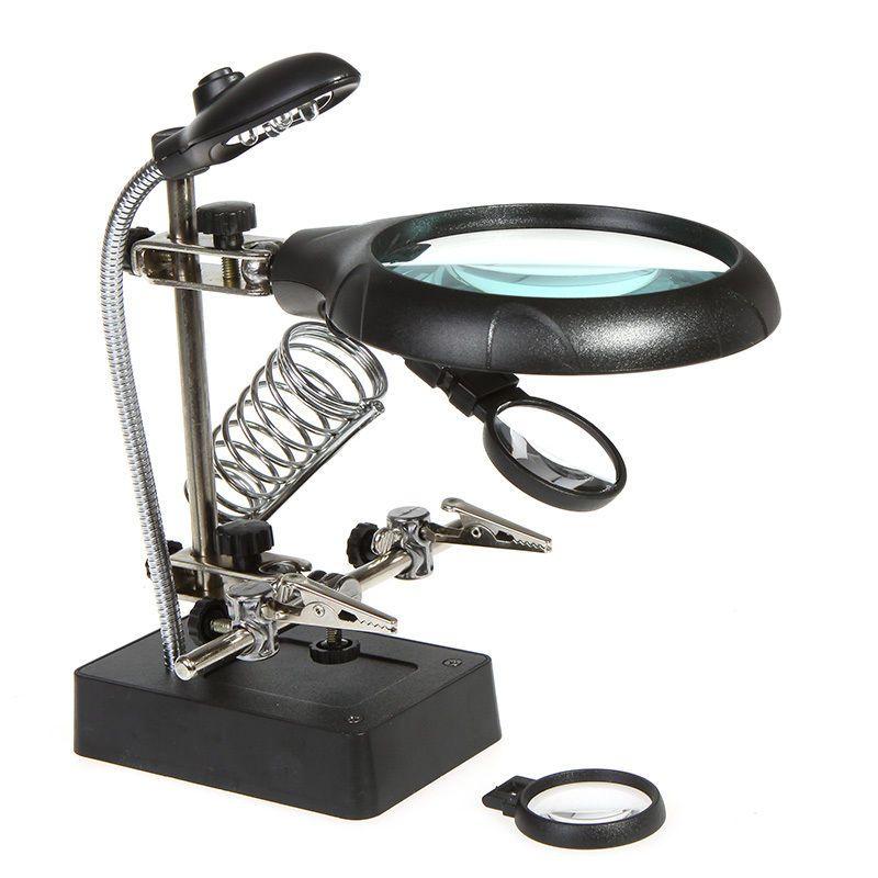 2 Helping Hands Desktop Magnifying Glass Clamp Magnifier Light Soldering Stand