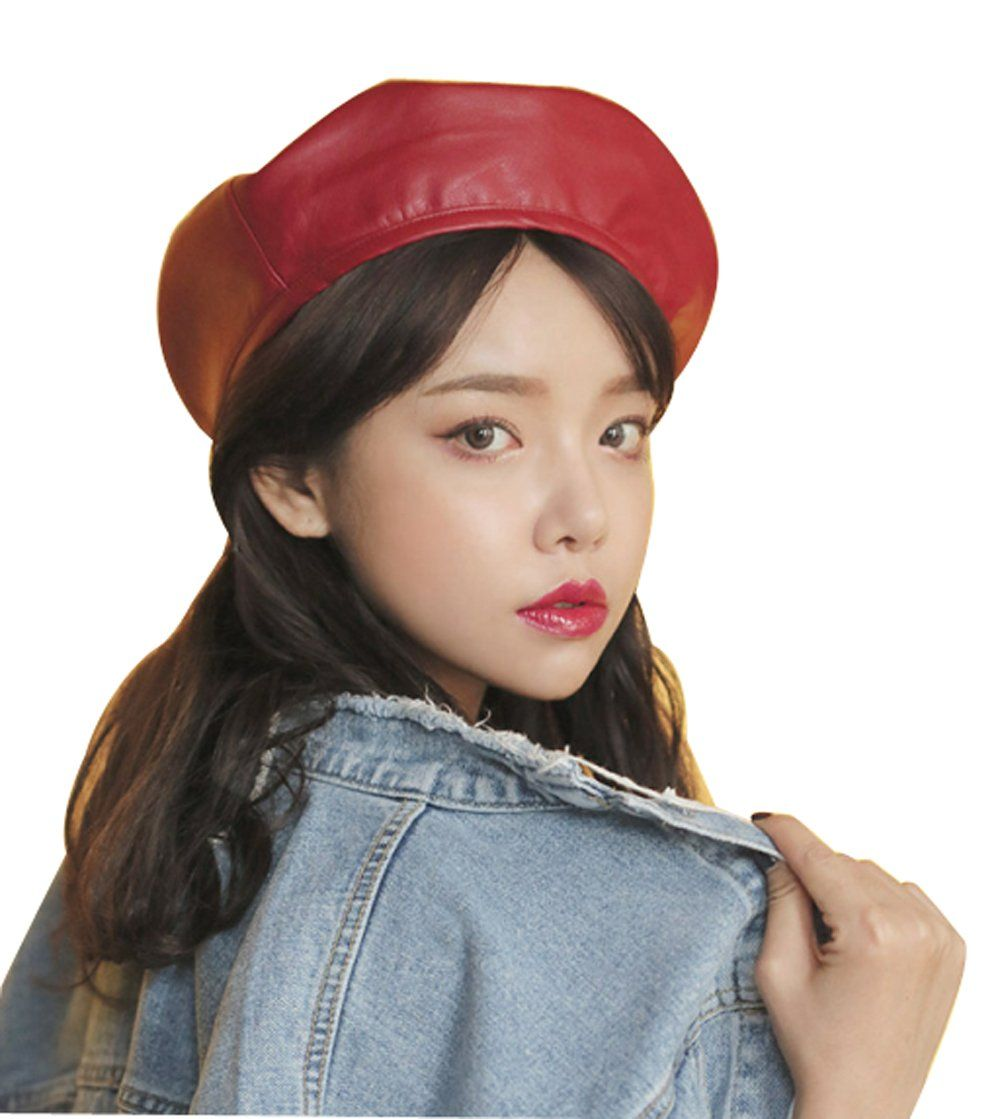 1f11863c49cc8 Faux Leather Beret Solid Plain Flat Top PU Berets Fashion French Style  Painters Hat Cap Red *** Click on the image for additional details.