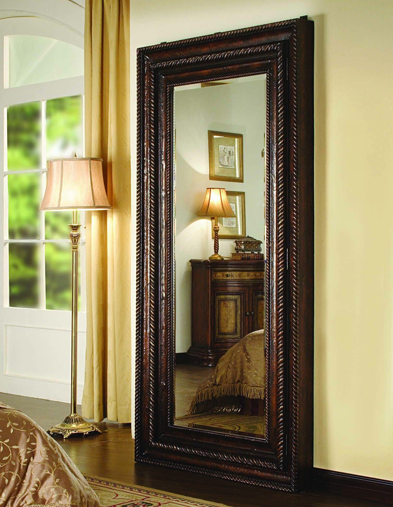 Delightful Hooker Furniture Floor Mirror W/Hidden Jewelry Storage 500 50 656