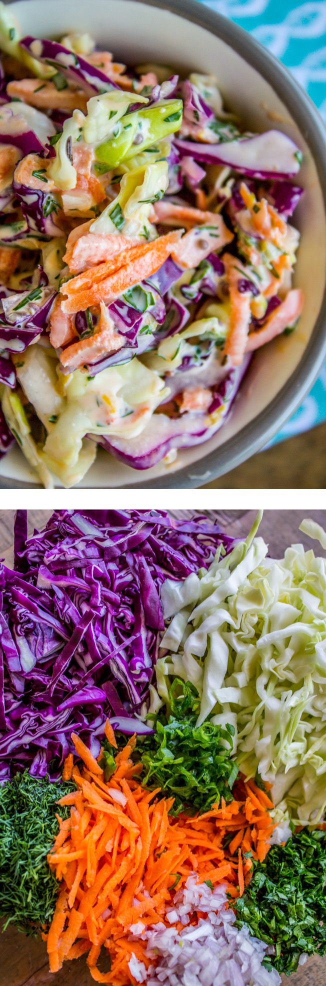 My Favorite Coleslaw (Made with Lemon and Fresh Herbs) from The Food Charlatan. This is not your average coleslaw! It is brightened up with some lemon juice and tons of fresh herbs (like dill, parsley, thyme, and chives). It's not overly sweet like so many recipes are. It's my absolute favorite for BBQs and potlucks! It would be good paired with grilled or fried chicken, on a pulled pork sandwich, on a hamburger...
