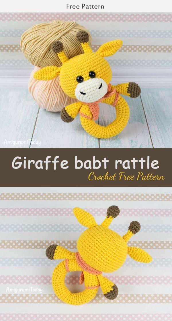 Giraffe Baby Rassel häkeln kostenlose Muster, #Baby #crochettoys #giraffe #hakeln #kostenlose... #crochettoys