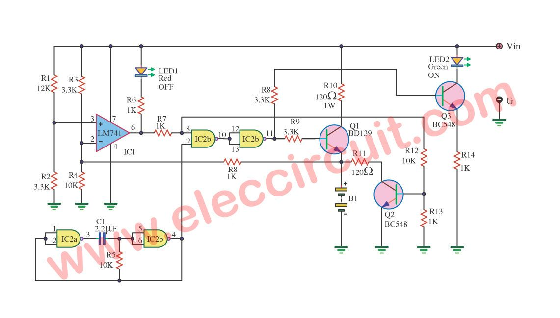 Simple Gel Cell Battery Charger Circuit Eleccircuit Com Battery Charger Circuit Charger Battery Charger