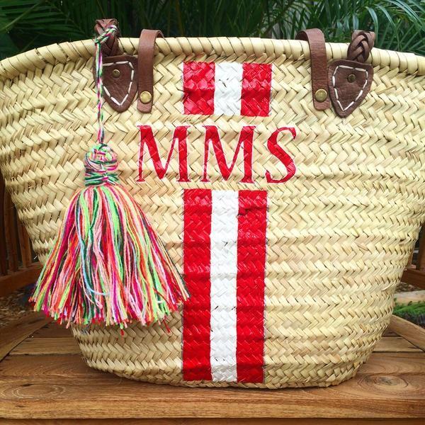 Monogrammed Straw Bag Personalized Beach Custom Initialed Tote Diy