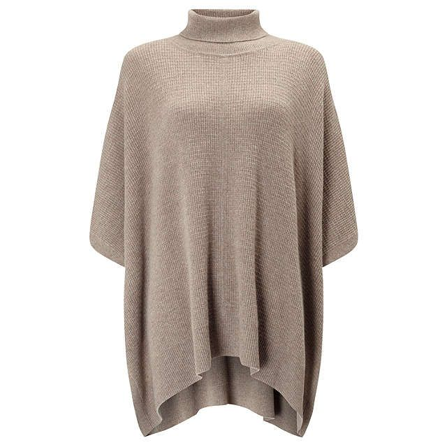 BuyJohn Lewis Roll Neck Cashmere Poncho, Dark Toast, One Size Online at johnlewis.com