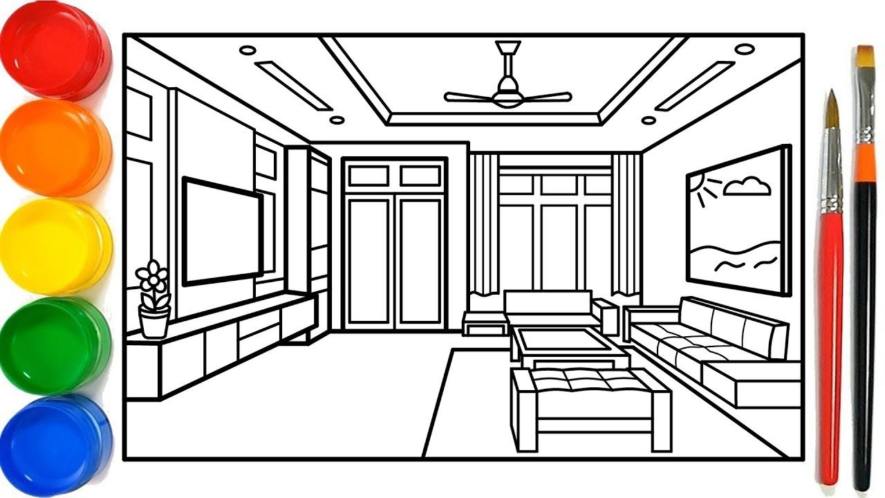 Glitter Living Room Coloring Pages For Kids | Ruang ...