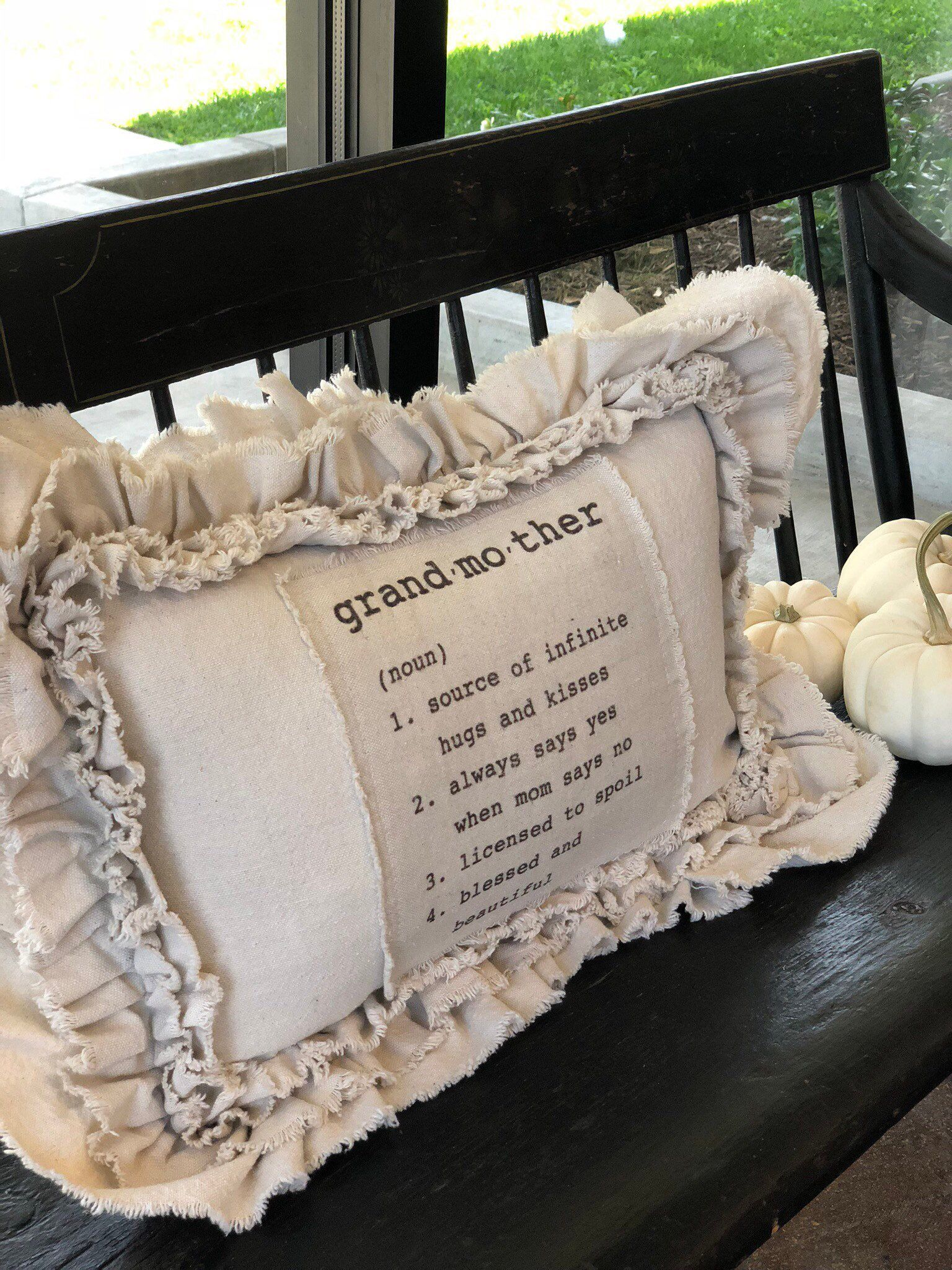 Custom Pillows Cover with Sayings With Ruffles,Grandmas Pillow,French Country Farmhouse pillow,Gift for Granny,Christmas Gift