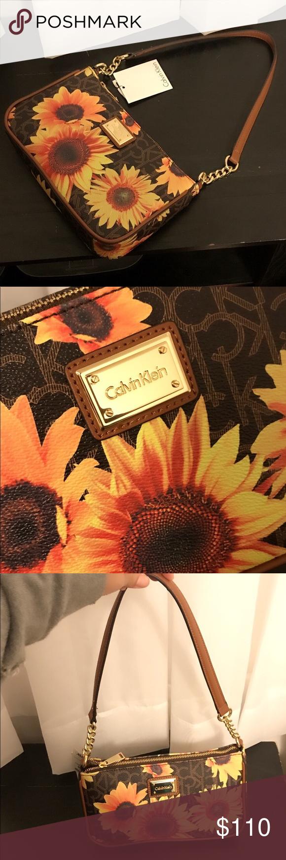 "315e149815c Calvin Klein Sunflower Purse Beautiful sunflowers CK handbag. Brand new.  Bought but never used. Size: 10""x6.5""x2"" Handle drop: 11"" Calvin Klein Bags"