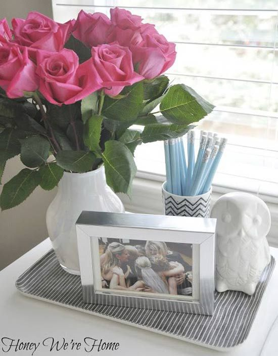 decorating your office. Use A Tray To Keep Your Desk Organized Decorating Office