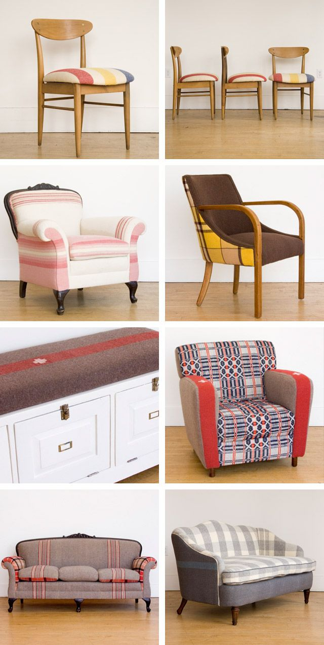 Blanket furniture made from vintage chairs and reupholstered with