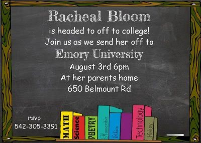 chalkboard going away to college party invitations farewell going