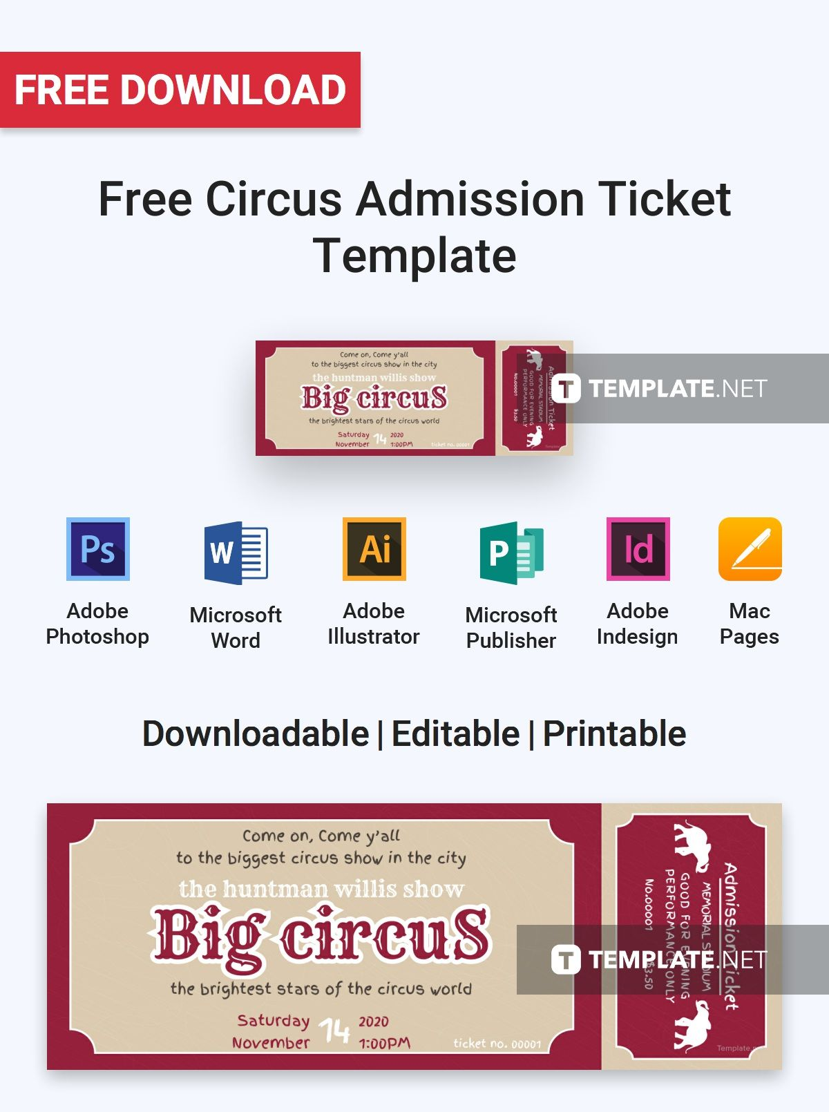 Free Circus Admission Ticket Ticket Template Admission Ticket