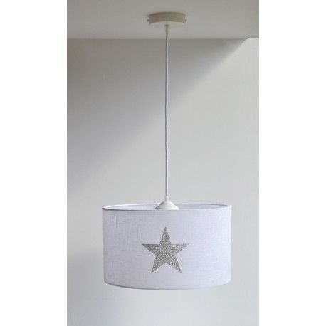 Lámpara Techo Estrella Glitter Plata lampe suspension enfant
