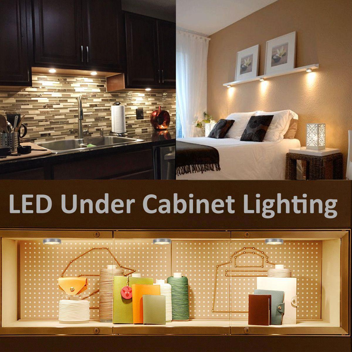 Le Led Under Cabinet Lighting Kit 510lm Puck Lights 3000k Warm White Under Counter Lighting Stick On Lights For Kitchen Closet Lights Set Of 3 In 2020 Light Kitchen Cabinets Led