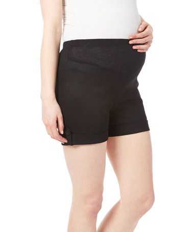 Look what I found on #zulily! Black Button Accent Maternity Shorts #zulilyfinds
