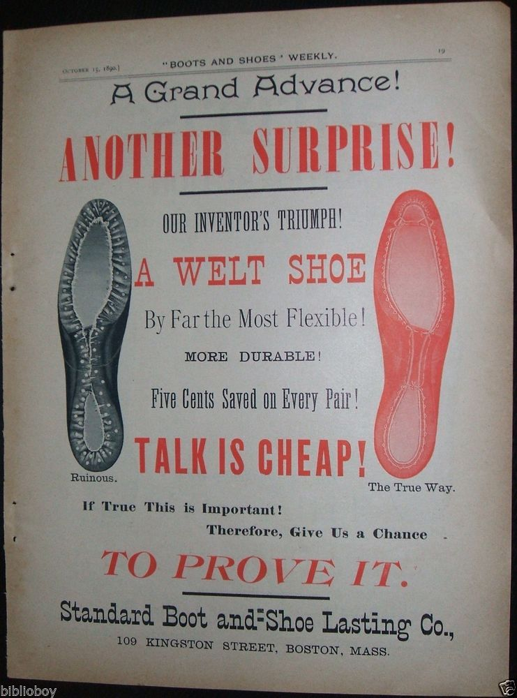 Original 1890 Full Page Color Illustrated Advertisement for Standard Boot & Shoe