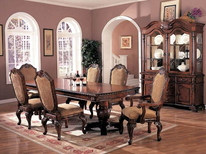 Furniture Outlet Antique Brown Formal Dining Table Set Hutch And Endearing Antique Dining Room Hutch Design Decoration