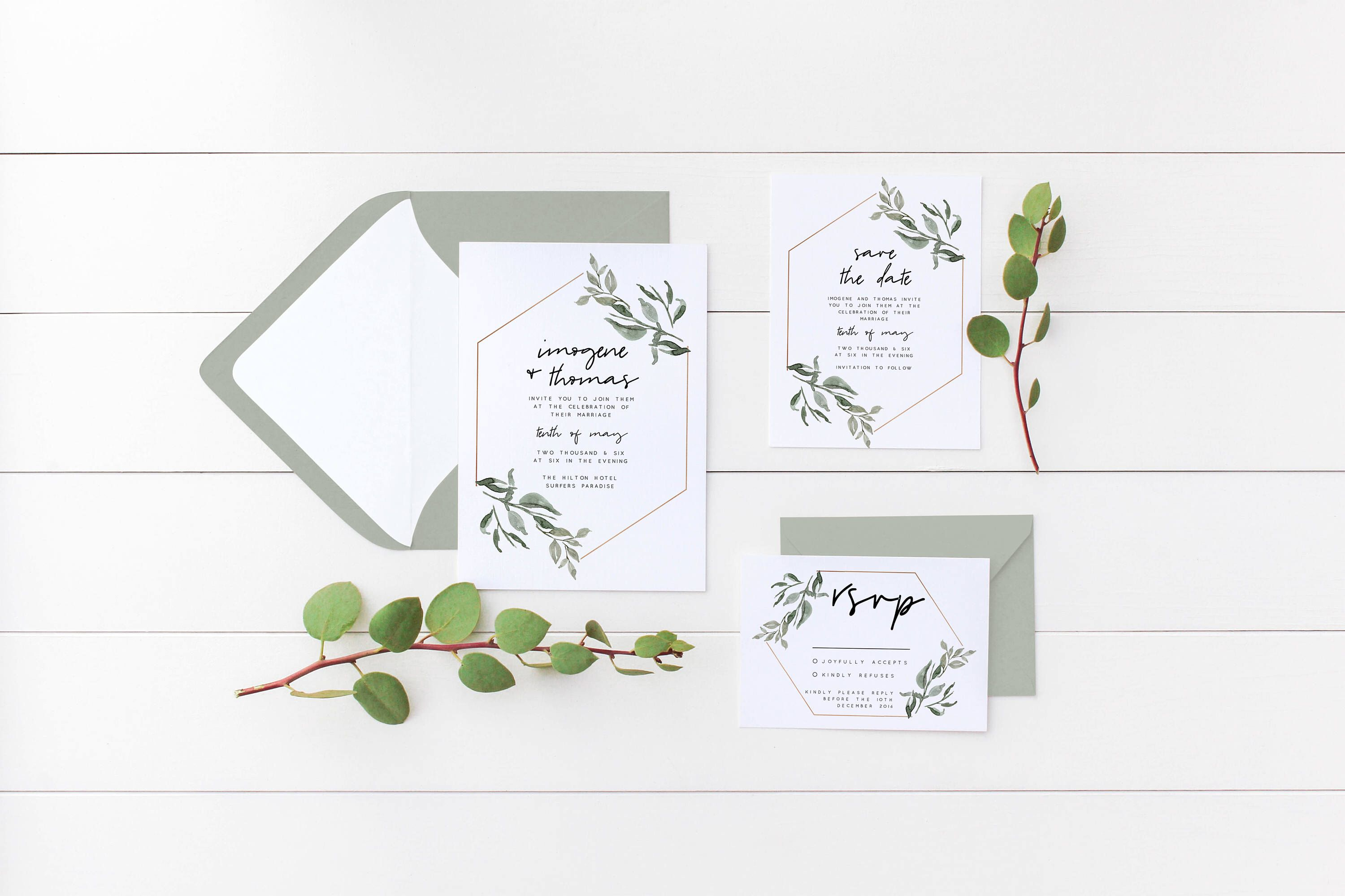 Minimalist Wedding Invitation Suite The Imogene Suite Nature