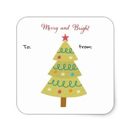Merry and bright gift tag sticker negle Image collections