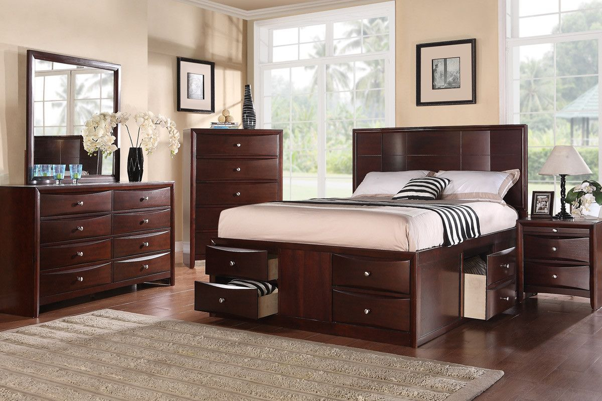Poundex Queen Bed F9233Q (With images) Bed storage
